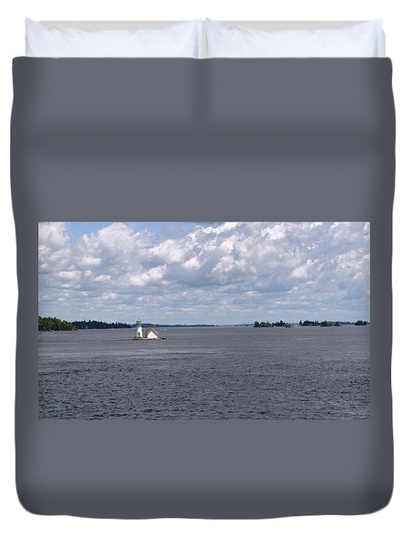 Duvet Cover featuring the photograph Sunken Rock Island by Living Color Photography Lorraine Lynch