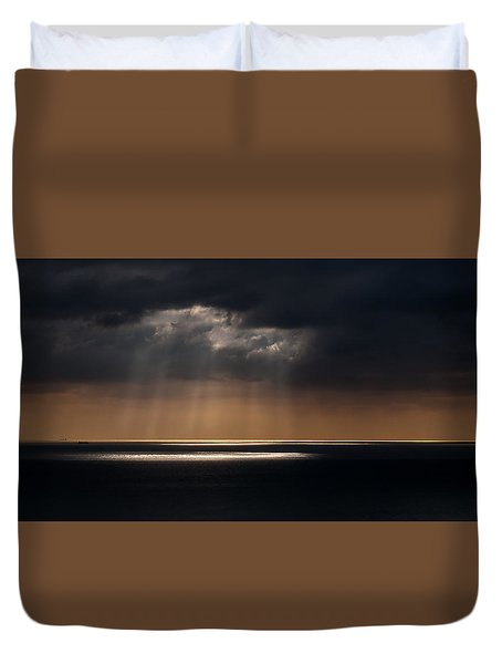 Sunlight And Cloud Over The Channel Duvet Cover
