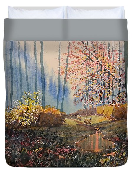 Sunlight And Sheep In Sledmere Woods Duvet Cover