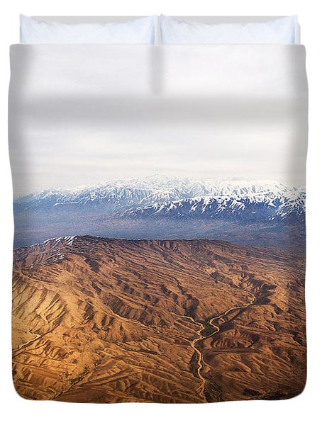 Sunlight And Snow-capped Peaks Duvet Cover