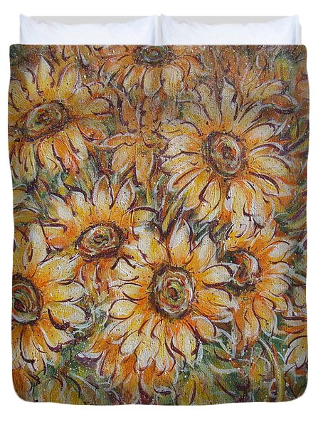Duvet Cover featuring the painting Sunlight Bouquet. by Natalie Holland