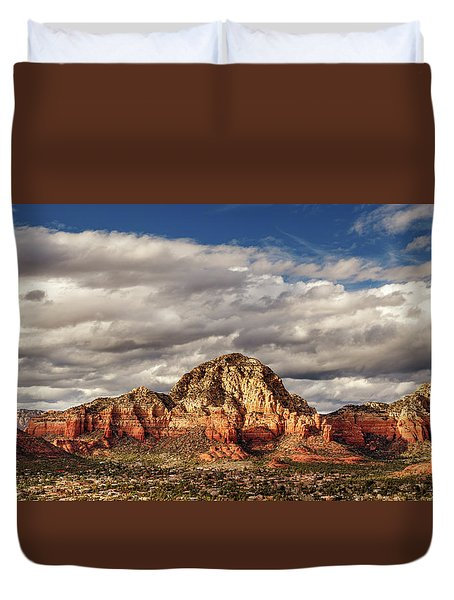 Duvet Cover featuring the photograph Sunlight On Sedona by James Eddy