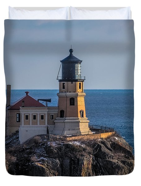 Sunlight On Split Rock Lighthouse Duvet Cover