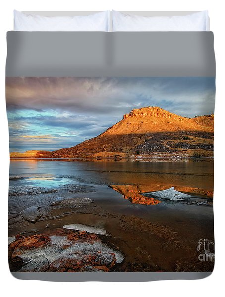 Sunlight On The Flatirons Reservoir Duvet Cover
