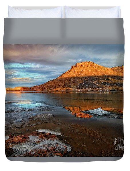 Sunlight On The Flatirons Reservoir Duvet Cover by Ronda Kimbrow