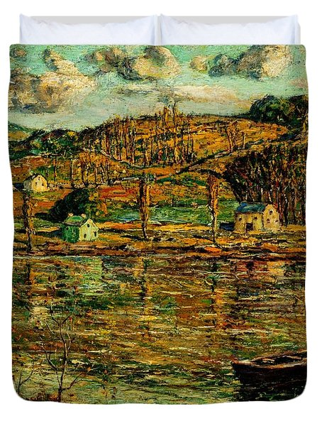 Sunlight On The Harlem River 1919 Duvet Cover