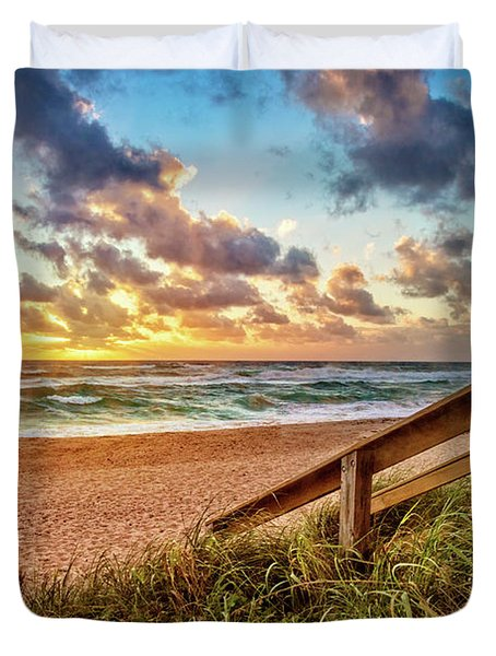 Duvet Cover featuring the photograph Sunlight On The Sand by Debra and Dave Vanderlaan