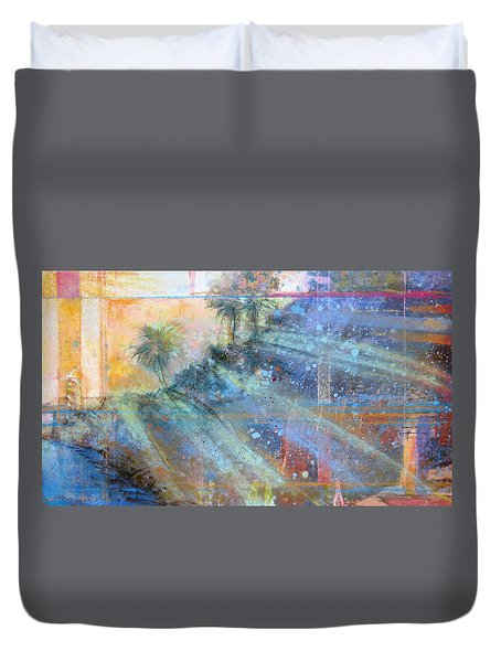 Duvet Cover featuring the painting Sunlight Streaks by Andrew King
