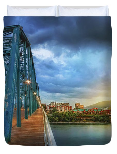 Sunlight Thru Rain Over Chattanooga Duvet Cover