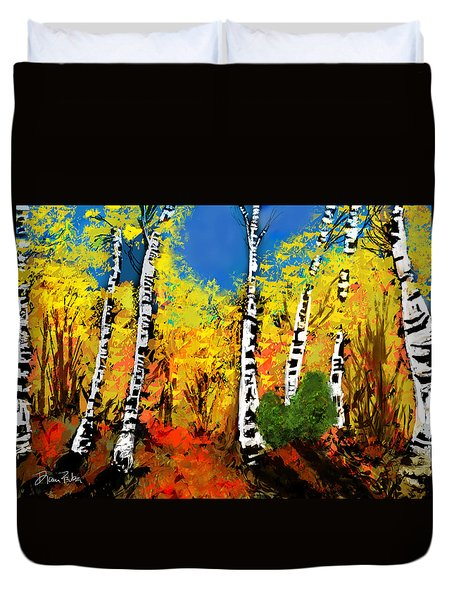 Sunlit Autumn Birches Duvet Cover