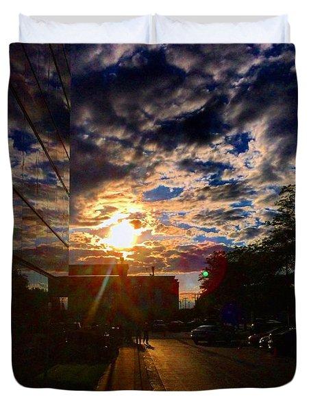 Sunlit Cloud Reflection Duvet Cover