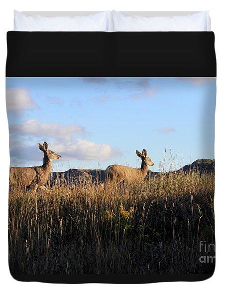 Sunlit Deer  Duvet Cover