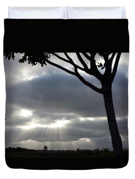 Sunlit Gray Clouds At Otay Ranch Duvet Cover by Karen J Shine