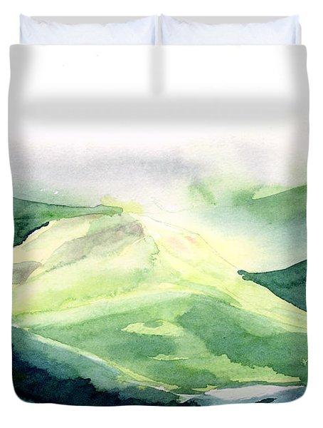 Sunlit Mountain Duvet Cover by Anil Nene