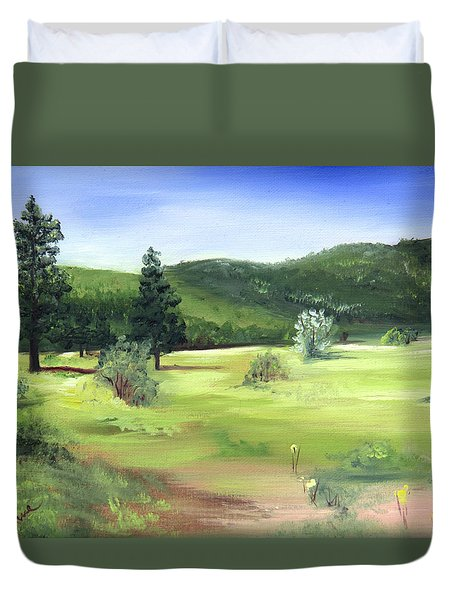 Sunlit Mountain Meadow Duvet Cover by Jane Autry
