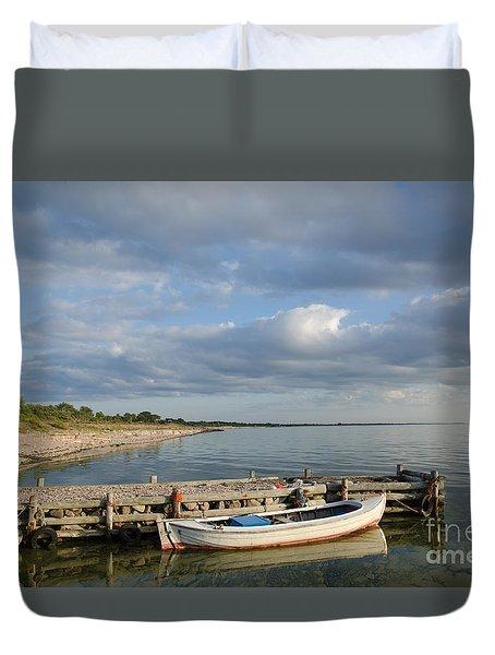 Sunlit Old Wooden Boat Duvet Cover