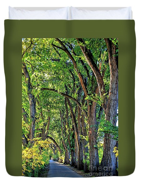 Sunlit Path Duvet Cover by Gina Savage