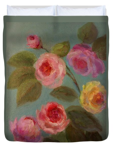 Sunlit Roses Duvet Cover by Mary Wolf