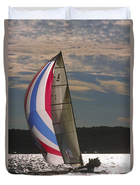 Sunlit Sails - Lake Geneva Wisconsin Duvet Cover