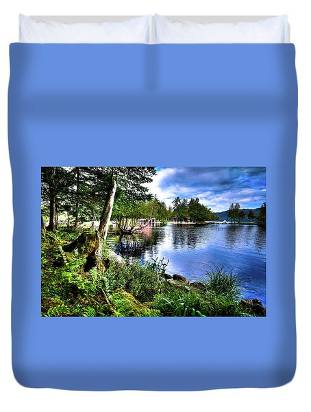 Duvet Cover featuring the photograph Sunlit Shore At Covewood by David Patterson
