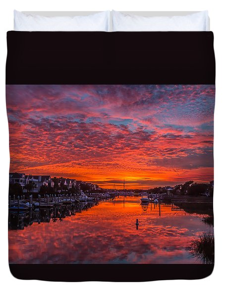 Sunlit Sky Over Morgan Creek -  Wild Dunes On The Isle Of Palms Duvet Cover