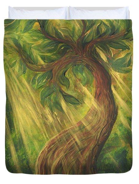 Sunlit Tree Duvet Cover