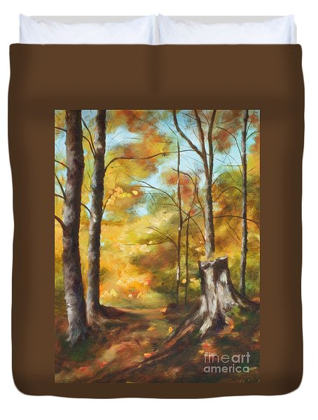 Sunlit Tree Trunk Duvet Cover