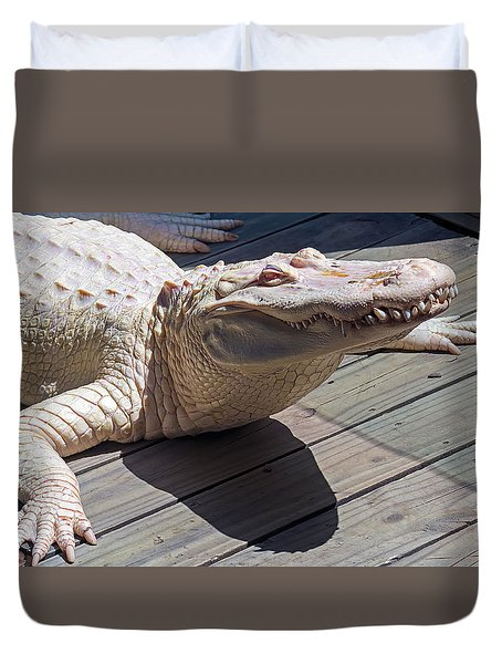 Sunning Albino Alligator Duvet Cover by Kenneth Albin
