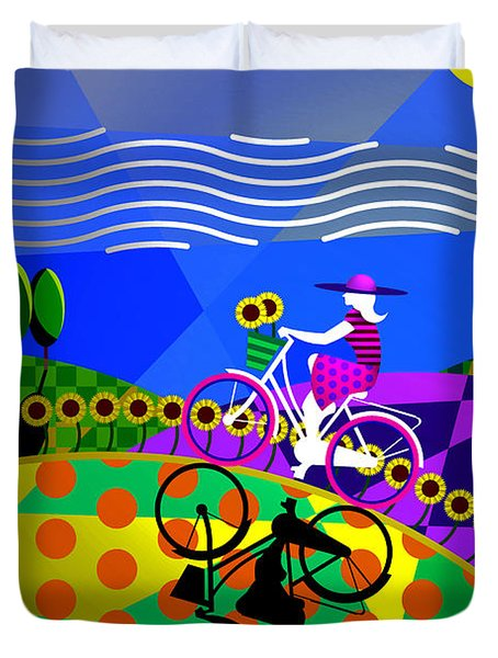 Duvet Cover featuring the digital art Sunny Acres by Randall Henrie