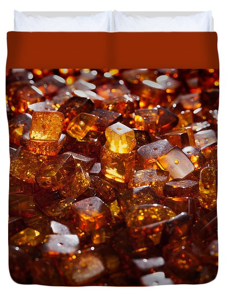 Duvet Cover featuring the photograph Amber  # 8369 by Andrey  Godyaykin