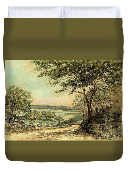 Duvet Cover featuring the painting Sunny Bushveld by Heidi Kriel