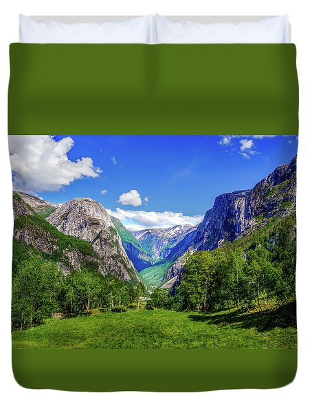 Duvet Cover featuring the photograph Sunny Day In Naroydalen Valley by Dmytro Korol