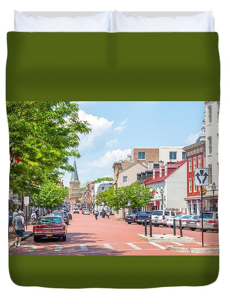 Duvet Cover featuring the photograph Sunny Day On Main by Charles Kraus