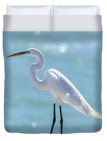 Duvet Cover featuring the photograph Sunny Egret by Steven Sparks