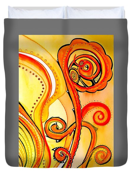 Duvet Cover featuring the painting Sunny Flower - Art By Dora Hathazi Mendes by Dora Hathazi Mendes
