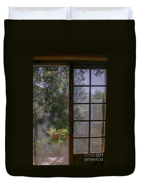 Sunny Garden With Door Duvet Cover by Patricia Hofmeester