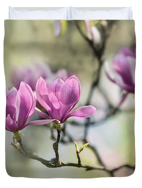 Sunny Impression With Pink Magnolias Duvet Cover