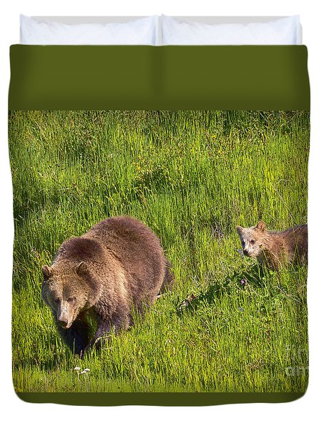 Duvet Cover featuring the photograph Sunny Meadow by Aaron Whittemore