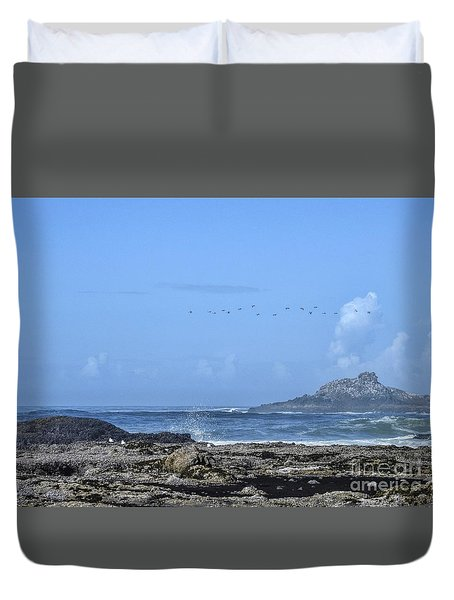 Duvet Cover featuring the photograph Sunny Morning At Roads End by Peggy Hughes