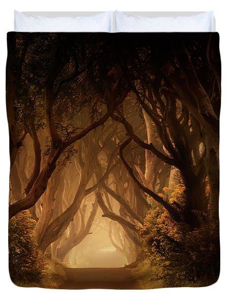 Sunny Morning In Dark Hedges Duvet Cover