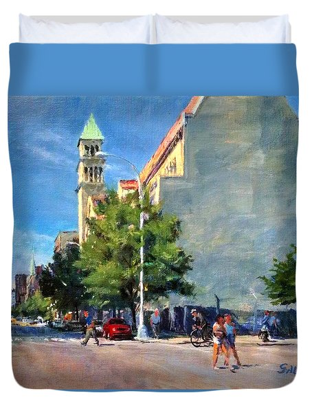 Summer Morning Near St. Michael's Church, Amsterdam Ave. Duvet Cover