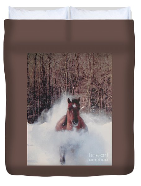 Duvet Cover featuring the photograph Sunny Running For The Barn. by Jeffrey Koss