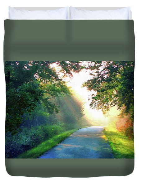 Sunny Trail Duvet Cover by Cedric Hampton