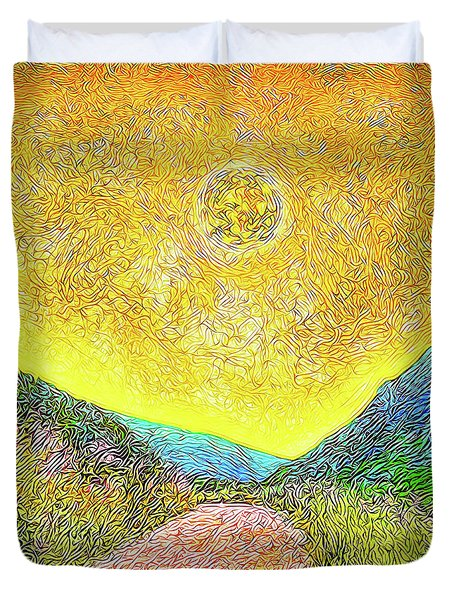 Duvet Cover featuring the digital art Sunny Trail - Marin California by Joel Bruce Wallach