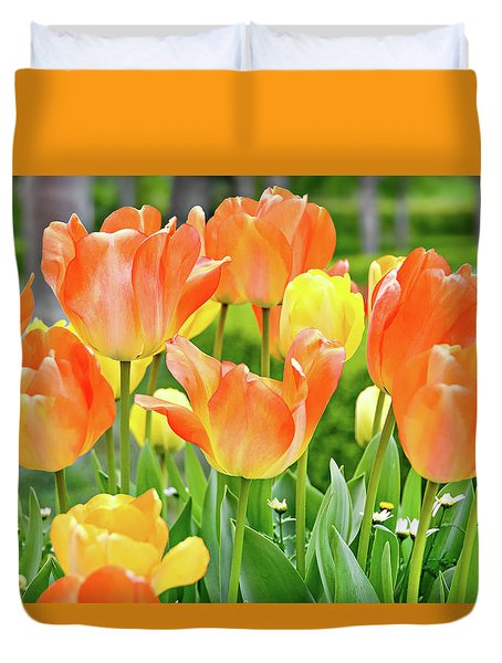 Duvet Cover featuring the photograph Sunny Tulips by David Lawson