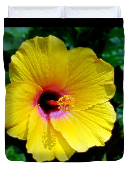 Duvet Cover featuring the photograph Sunny Yellow Hibiscus by Sue Melvin