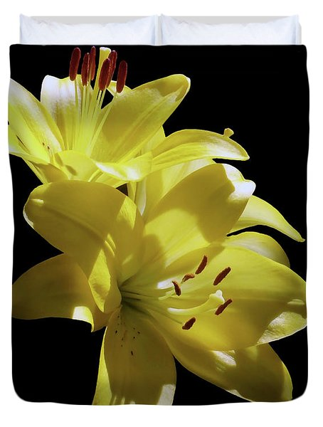 Sunny Yellow Lilies Duvet Cover
