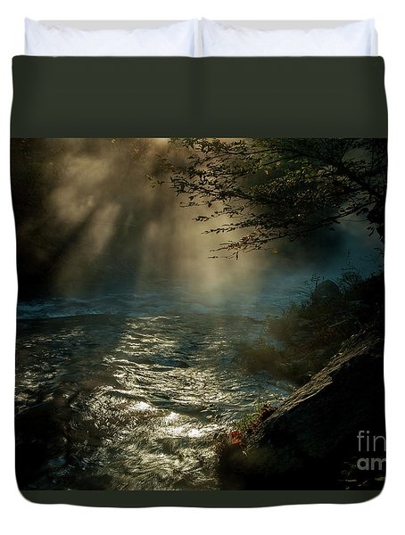 Sunrays At Fork River Duvet Cover by Iris Greenwell