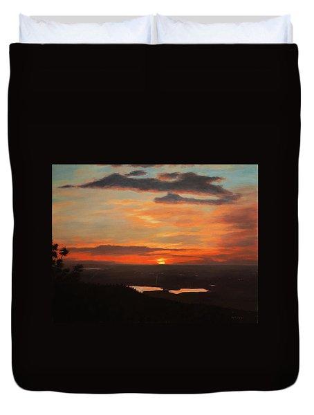 Sunrise Above Boulder Duvet Cover