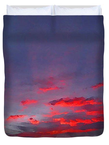 Sunrise Abstract, Red Oklahoma Morning Duvet Cover